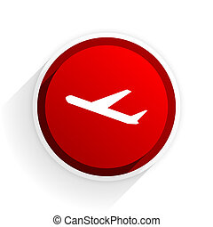 deparures flat icon with shadow on white background, red modern design web element