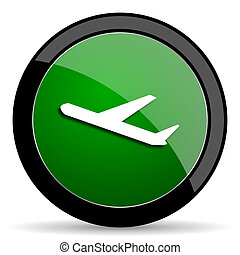 deparures green web glossy icon with shadow on white background