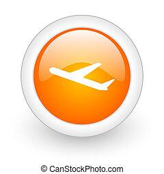 deparures orange glossy web icon on white background