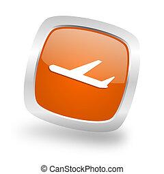 deparures square orange glossy chrome silver metallic web icon