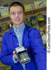 dependiente, tenencia, dispositivo, pago, tarjeta