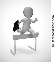 depicted, obstacle, surmonter, -, sauter par-dessus, obstacles, homme, 3d, illustration