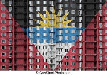 depicted, residental, barbuda, textured, unter, fahne, mehrstöckig, banner, hintergrund, construction., wand, gebäude, farben, farbe, mauerstein, antigua