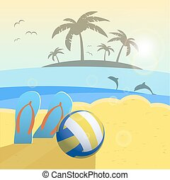 Depicted still life beach volleyball, ball, palms, sea. Vector background