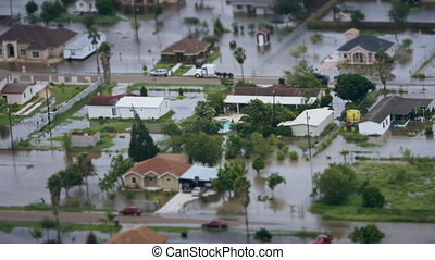 Depiction of flooding after a hurricane. Suitable for...