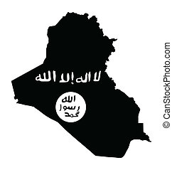 Iraq - Depiction of the treat by Islamic state black flag...