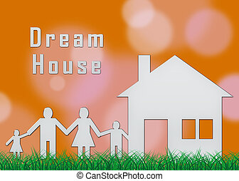 depicts, famille, maison, -, illustration, ou, idéal, vous, propriété, rêve, dreamhouse, 3d