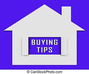depicts, pictogram, woning, hulp, -, kopen, illustratie, woongebied, tips, eigendom, aankoop, 3d
