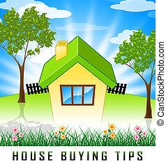 depicts, platteland, woning, hulp, -, kopen, illustratie, woongebied, tips, eigendom, aankoop, 3d