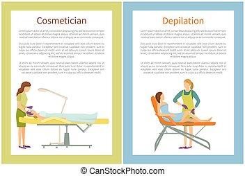 depiláció, fogadószoba, folyamat, kozmetikus, ásványvízforrás
