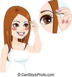 depilating, 眉毛, 女