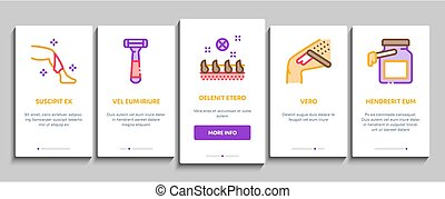 Depilation Procedure Onboarding Mobile App Page Screen Vector. Depilation Equipment Razor And Laser, Epilation Device For Cosmetology Treatment Illustrations