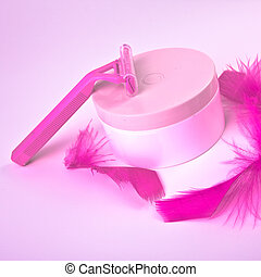 depilation set on pink background