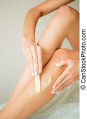 depilazione, zucchero, miele, femmina, gambe, o, pasta.
