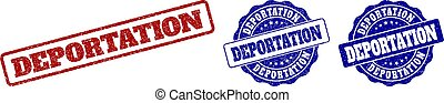 DEPORTATION grunge stamp seals in red and blue colors. Vector DEPORTATION imprints with grunge style. Graphic elements are rounded rectangles, rosettes, circles and text labels.