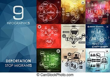 deportation vector infographics with unfocused polygonal background