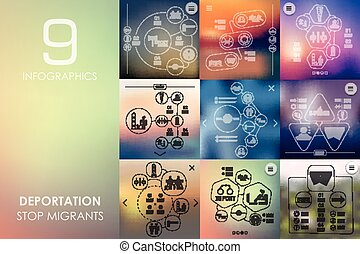 deportation vector infographics with unfocused blurred background