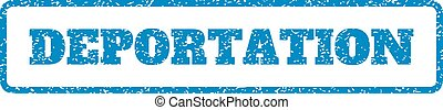Blue rubber seal stamp with Deportation text. Vector message inside rounded rectangular shape. Grunge design and scratched texture for watermark labels. Horizontal sticker on a white background.
