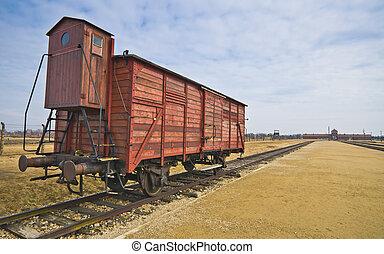 Deportation wagon at Auschwitz Birkenau at concentration ...
