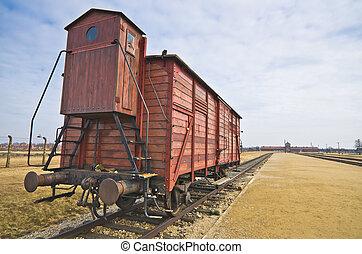 Deportation wagon at Auschwitz Birkenau at concentration...