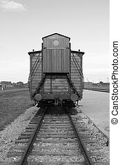 Deportation wagon at Auschwitz Birkenau concentration camp, ...
