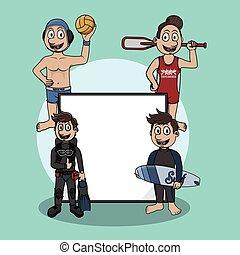 deporte agua, señal, ilustración