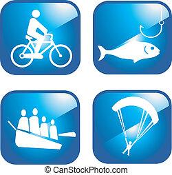 deporte aventura, iconos