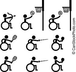 deporte, baloncesto, esgrima, tenis, tiro al arco, disable, tabla, desventaja, tenis, iconos