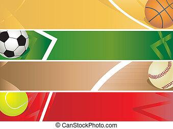 deporte, bandera, pelotas