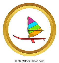 deporte, barco, con, un, vela, icono