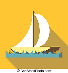 deporte, barco, con, un, vela, icono, plano, estilo
