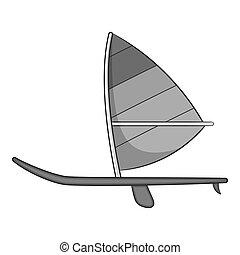 deporte, barco, con, vela, icono, gris, monocromo, estilo