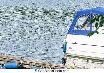 deporte, barco, trasero, vista