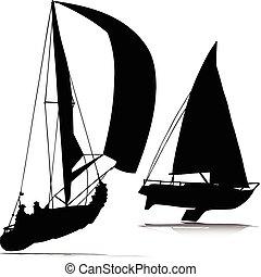deporte, barco, vector, siluetas