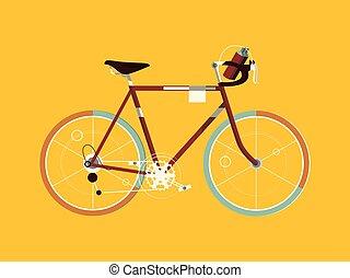 deporte, bicicleta, caricatura, vector, ilustración