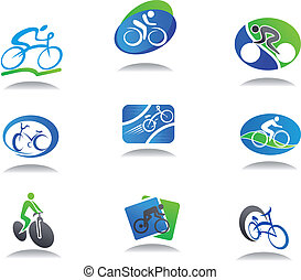 deporte, bicicleta, iconos
