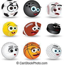 deporte, caricatura, pelotas
