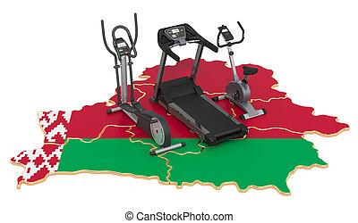 deporte, clubes, 3d, interpretación, belarus., condición física, belarusian, equipments, map., ejercicio