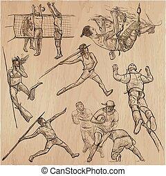 deporte, colección, -, mano, dibujado, vector, paquete
