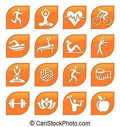 deporte, condición física, iconos, buttons.