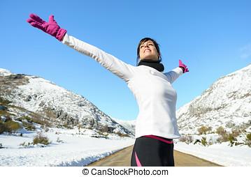 deporte, corredor, mujer, libertad, éxito