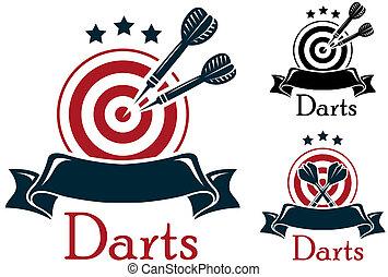 deporte, emblema, dardos