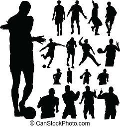 deporte, gente, vector, siluetas