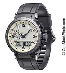 deporte, hombres, reloj, silicona, wristband