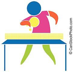 deporte, icono, diseño, para, tenis de mesa