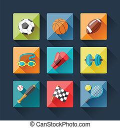 deporte, iconos, conjunto, en, plano, diseño, style.