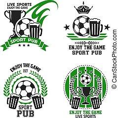 deporte, iconos, fútbol, bar, vector, futbol