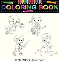deporte, libro colorear