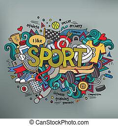 deporte, mano, letras, y, doodles, elementos, plano de fondo