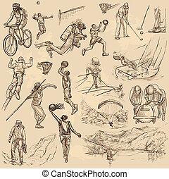 deporte, mezcla, -, un, mano, dibujado, vector, colección